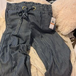 NWT  Michael Kors Cropped Striped Linen Pants